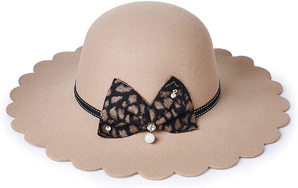 Women Classic Wide Brim Fedora Hat Felt Hat with Leopard Bow Pearl Pendant