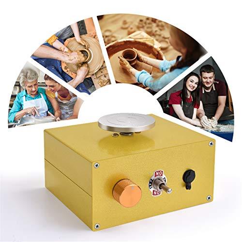 InLoveArts Recargable Arcilla Herramienta Máquina de Cerámica Mini Torno de Alfarero para niños y principiantes, 2000RPM Cerámica Eléctrica con 2 platos giratorios (6.5 10cm) y herramienta de modelado