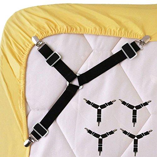 Wommty 4 Stück Verstellbar Bed Sheet Gurthalteband Bettlakenspanner Triangle Elastische Strapse Greifer Halterung Träger Clip für Bett Blatt, Matratzenbezüge, Sofa Kissen und Stuhlsitze Kissen