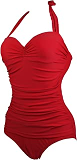 Women's Vintage 50s One Piece Swimsuit Swimwear Monokini Padded Ruched Bathing Suit Swimming Costume