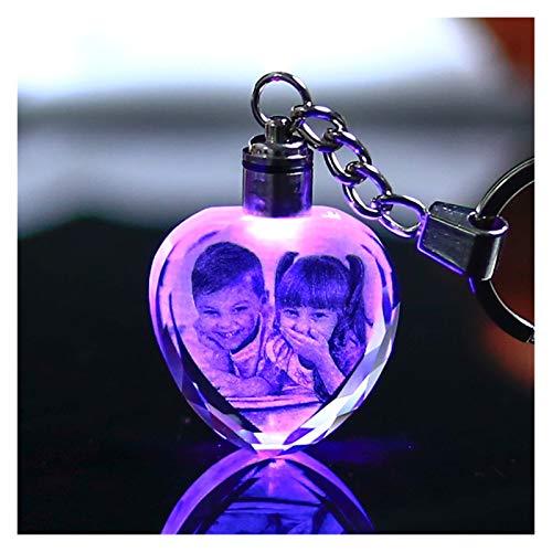 YUXIN Zhochen Llavero de Cristal Colorido Photo Llavero Llavero Llavero en Forma de corazón Imagen de Vidrio Regalos de Souvenir (Color : Heart)