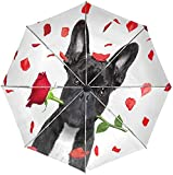 Paraguas automático lindo divertido perro a prueba de viento, encantador cachorro flores rosas viaje sol lluvia al aire libre paraguas