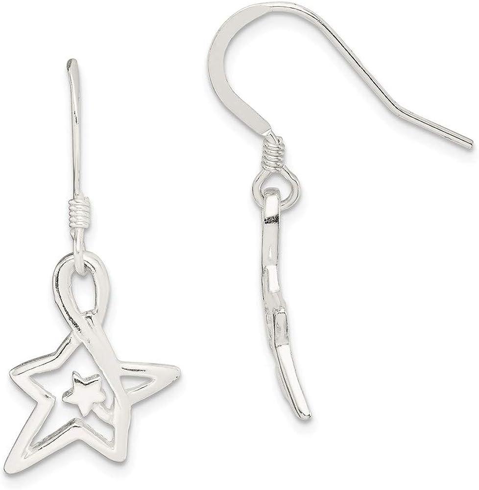 Sterling Las Vegas Mall Silver Polished Diamond-Cut Dangle Star Chicago Mall Earrings