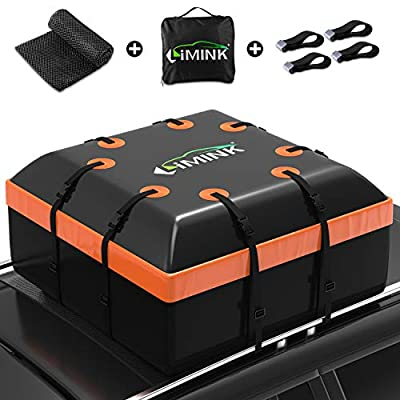 LIMINK Car Roof Bag Cargo Carrier, 15 Cubic Feet Waterproof & Coated Zipper Rooftop with Anti-Slip Mat + 4 Door Hooks, Suitable for All Cars with/Without Rack