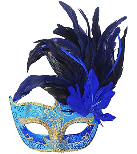 Costume Mask Feather Masquerade Mask Halloween Mardi Gras Cosplay Party Masque (Blue)