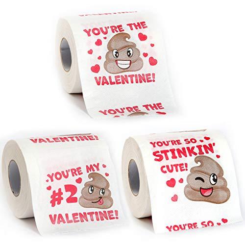 JOYIN Valentines Day Poop Emoji Toilet Paper 3 Rolls of 200 Sheets Novelty Party Favor Exchanging...
