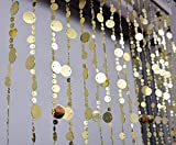 FlavorThings Gold Bubble Beaded Curtain 3' Wide x 6' Long Door String Curtain Wall Panel Fringe Window Room Divider Blind for Wedding Coffee House Restaurant Parts Crystal Decoration