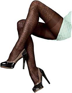 Mona Delice Back Seamed Black Hold Ups Lace Top Sheer Stockings