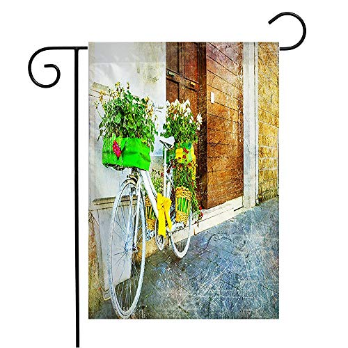Garden Flag Welcome Flag Artistic Vintage Floral Bike Charming Street Garden Miscellaneous Backstreet Bicycle Countryside 12x18 Inch Yard Flag Farmhouse Spring Summer Home House Lawn Decor