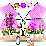 Lámpara de Planta, EWEIMA Lámpara LED Cultivo de 4 Cabezales de Espectro Completo con 80 LED, Luz para Plantas de 10 Niveles Regulable y 360°Ajuste con Función de Temporizador, para Jardinería Bonsai