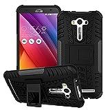 Coque ASUS Zenfone 2 Laser ZE550KL 5.5' 360 degrés Protection Bumper+Film Verre Trempé 2 Pièce,Béquille Cover Etui Silicone...
