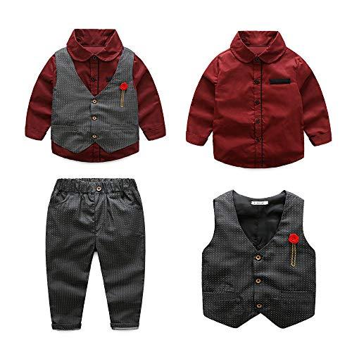 LILIS Mens Premium Tail Tuexdo 3 Pieces Suit Tailcoat Jacket Tux Vest & Trousers Dark Gray