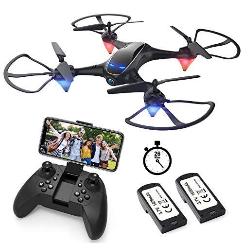 EACHINE E38 Drones con Cámara para Adultos LED Tiempo de Vuelo Largo WiFi FPV 720P 120° HD Video Drone para Principiantes Drone para Interiores Exteriores (2 Baterías)