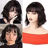 Huarisi Short Body Wave Wig Glueless Bob Brazilian Virgin Human Hair Wigs 12 Inch Natural Color Machine Made Wigs with Bangs None Lace Natural Wavy Hair Stylish Shoulder Length