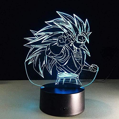 Lámpara de trofeo 3D con 7 colores cambiantes 3D LED luz nocturna con botón táctil USB para dormitorio de bebé, sueño Luminaria Light-N08