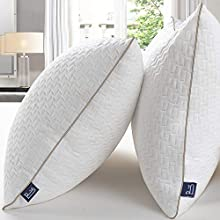 BedStory Almohadas Bambú 50x75 Almohada Pack 2 con Funda de Lavable Almohada Antiácaros con 90% de 3D Fibra + 10% de 7D Fibra de poliéster Relleno de Almohadas de Calidad Hotelera