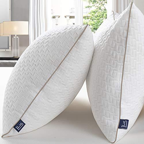BedStory Almohadas Bambú 42x70 Almohada Pack 2 con Funda de Lavable Almohada Antiácaros con 90% de 3D Fibra + 10% de 7D Fibra de poliéster Relleno Almohadas de Calidad Hotelera
