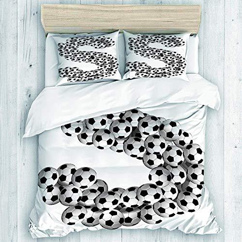 Bettbezug, Fu?b?lle in Form des Buchstabens S des Alphabets Sechseck gemusterte B?lle Bettbezug-Set, Bettbezug & 2 Kissenbezüge, Bettbezug