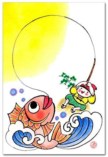 和風イラスト 楽しい絵葉書「恵比寿・鯛」ポストカード