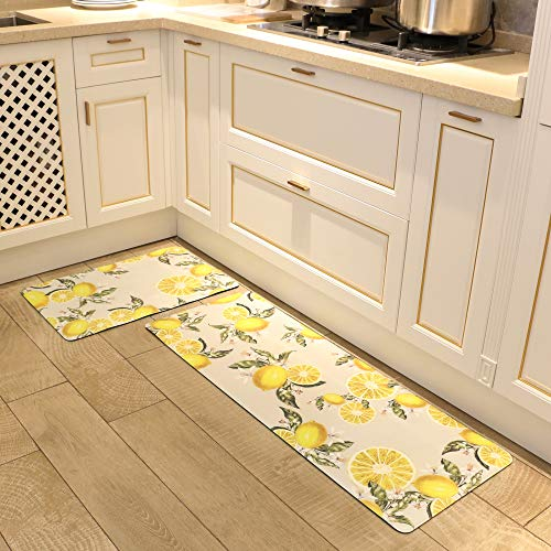 Homcomoda Kitchen Rugs 2Piece Waterproof Anti Fatigue Kitchen Floor Mat Lemon Non Slip Comfort PVC Leather Heavy Duty Standing Mats Indoor Outdoor(17.3