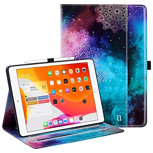 ULAK iPad 10.2 Case with Pen Holder Card Holder, iPad 8th Generation Case Premium PU Leather Cover, Auto Sleep/Wake Up Protection Smart Cover for iPad 10.2 inch 7th 2019/8th 2020 Generation, Mandala