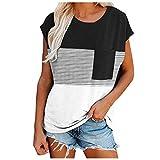 Las mujeres Casual Camisetas Cómodas Túnicas De Rayas Tops Algodón Cuello Redondo Blusas C11484 Negro