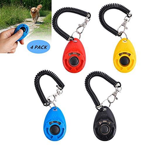 Clicker para Adiestramiento Perro,4 Piezas Adiestradores Para Mascotas Con Correa para la Muñeca,Clickers de Entrenamiento para perros