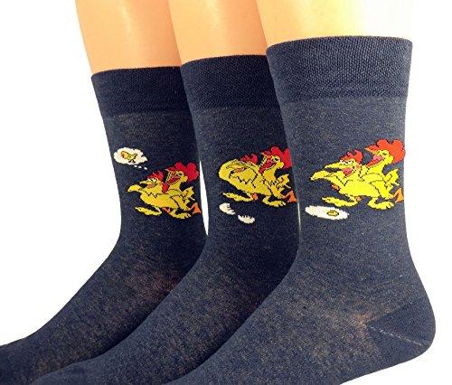 Shimasocks Herren Motiv Socken Hühner, Farben alle:jeansmeliert, Größe:39/42 Dreierpack