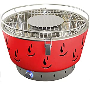 ACTIVA Airbroil 2020 Tischgrill Rot Holzkohlegrill mit Aktivbelüftung inklusive Tragetasche Kleiner Grill Barbecue Tischgrill rund Holzkohlegrill für Balkon Batterie Belüftung