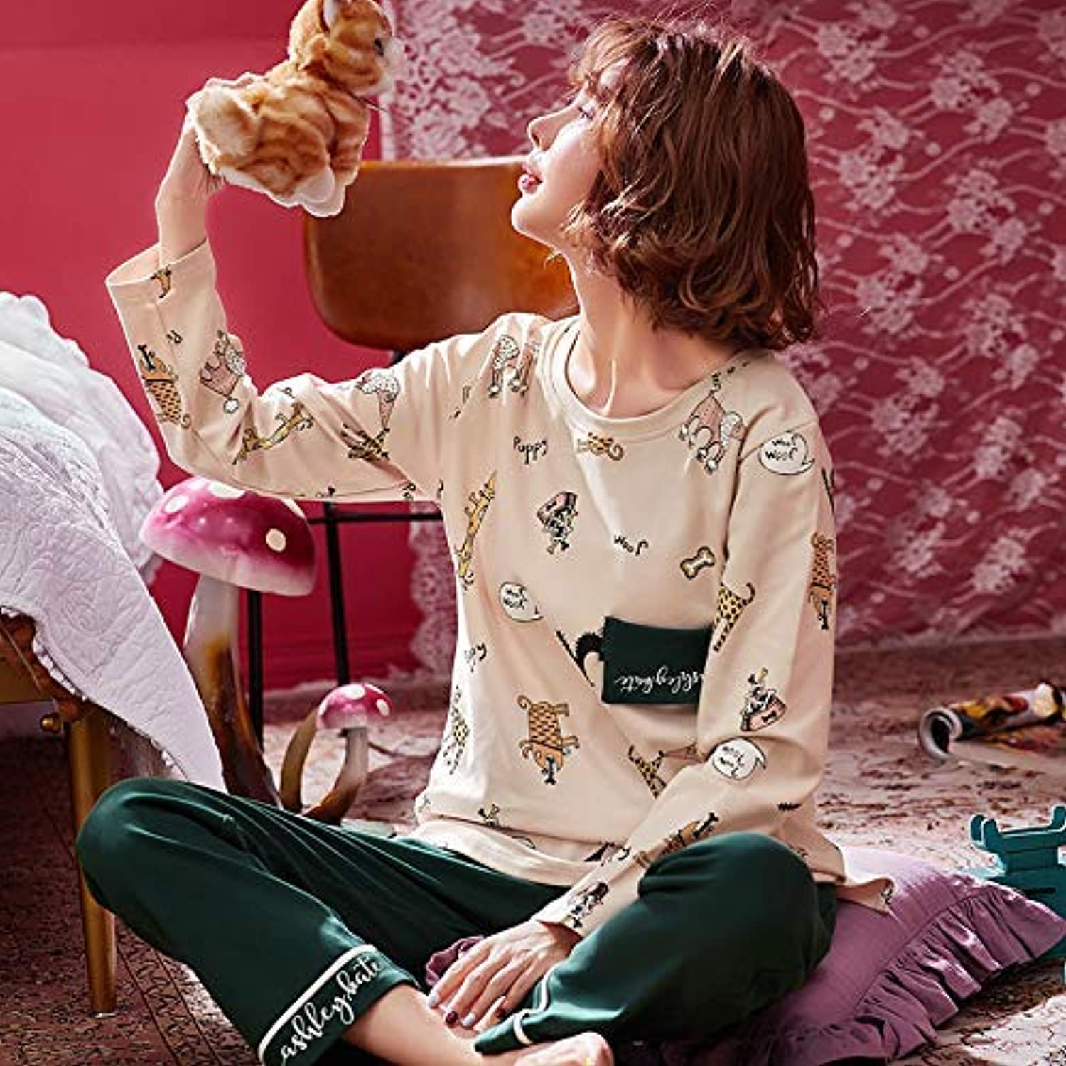 Cute Pajamas Autumn and Winter Women's Cotton Pajamas LongSleeved Trousers Casual Girls can wear Home Service Suits (Size   L) Sexy Sleepwear (Size   Large)