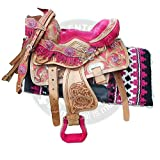 Manaal Enterprises Premium Leather Western Youth Child Barrel Racing Pony Miniature Horse Saddle Tack + Headstall, Breast Collar, Reins & Saddle Pad Size 14-18 (12' Inches Seat)