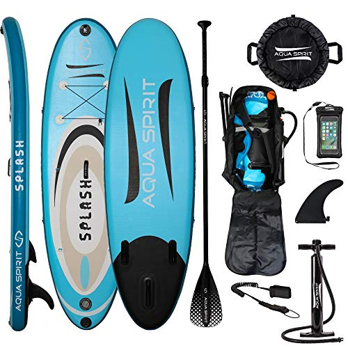 AQUA SPIRIT iSUP Inflatable Stand up Paddle Board for Adult Beginners/Intermediate with Backpack, Leash, Paddle, Changing Mat & Waterproof Phone Case (9' Splash Blue)