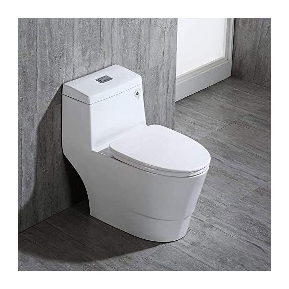 WOODBRIDGE T-0001, Dual Flush Elongated One Piece Toilet with Soft Closing Seat, Comfort Height, Water Sense, High-Efficiency, Rectangle Button B-0940 Pure White 4 <p>✅ : Ship from warehouse directly ; Fast shipment Thant regular order ✅ : Luxurious Modern Design one piece toilet , Clean, sleek look and compliment with different styles like modern , craftsman , traditional and etc. ✅: The skirted trap way creates a sleek look and makes cleaning easier. Compare to other toilets, it has no corners and grooves, very easy to reach for cleaning . ✅: Siphon Flushing one piece toilet, Fully glazed flush system , bringing a super quiet and powerful flushing - NO clogs, NO leaks, and NO problem ✅: Comfort Height Design, Chair-height seating that makes sitting down and standing up easier for most adults ✅ High end Soft Closing Toilet Seat with Stainless Steel Durable Seat Hinge, Easy to get the toilet seat off to tighten or clean after years of use. ✅ : Package Includes toilet, pre-installed soft closing toilet seat, pre-installed water fitting , high quality wax ring , floor bolts , and installation instruction, also Include special hand wrench tool to easily tighten the bolts in narrow spaces. ✅ : US & Canada UPC & CSA certified products. High-efficiency, Water Sense Certified toilet - meet or exceed ANSI Z124. 1 & ANSI A112-19. 7 ✅ : 5 year limited on porcelain parts against fading/staining of the glaze; 1 Year on flushing mechanism & soft closing toilet seat , Woodbridge US based product support team is happy to assist with any sales or product-oriented queries.</p>