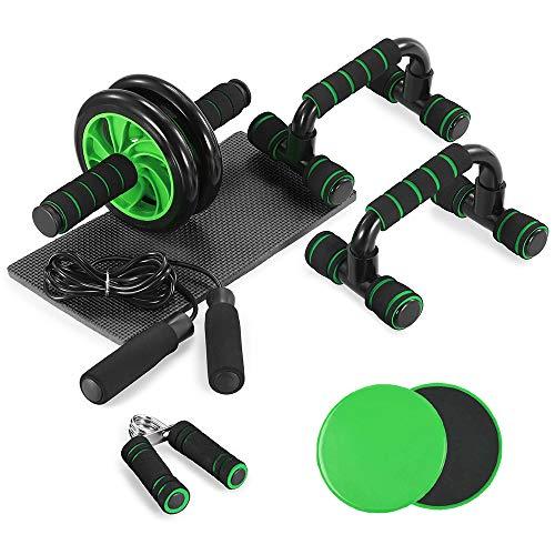 TOMSHOO 6-in-1 Fitness Workout Set - AB Wheel Roller Addominali, 2 Maniglie per Flessioni, 2 Dischi Scorrevoli, Corda per Saltare, Pinza Mano, Tappetino per Uomo/Donna Home Fitness