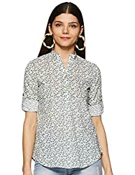 Styleville.in Womens semi Formal Multicolor Printed Shirt with roll Sleeve