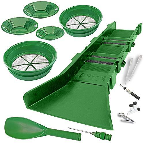 Sluice Fox 16 Piece Gold PAN PANNING KIT - Sluice Box; Classifiers; Pans; Tweezers; Vials