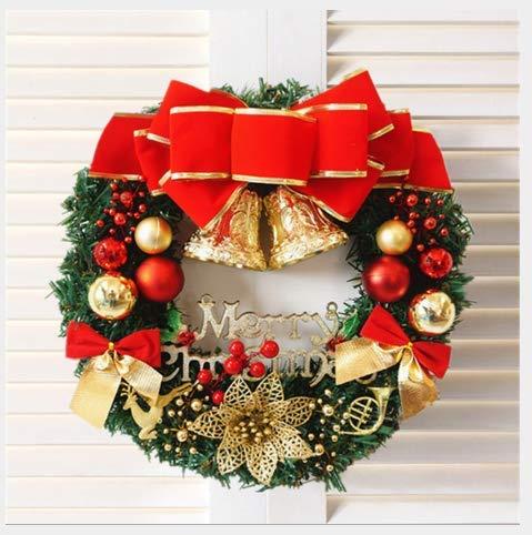 Corona di Natale, Corona di Pino con Porta d'ingresso da 30 cm, Decorazione per Natale Decorazione Natalizia con ghirlande (Corona di Pino Verde)