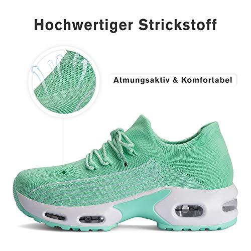 Mishansha Zapatos Deportivos Mujer Zapatillas de Deporte para Correr Running Antideslizante Gimnasio Bambas Verde B N, Gr.38 EU