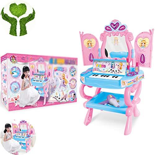 Meisje make-up speelgoed Creatieve Muziek Piano-dressoir Meisjes Speelhuis Cosmetica Speelgoedset Prinses Aankleedspellen Cadeaus Voor Meisjes Van 3-6 Jaar (Color : Pink, Size : 72.5 * 30 * 52.5cm)