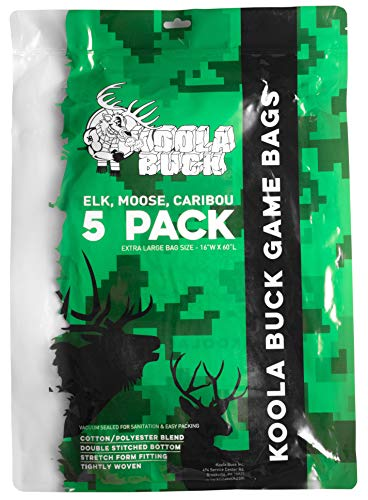 "Koola Buck 5-Pack Reusable Hunting Game/Meat Bags - 5-Pack 60"" XL Quarter Bags - Wild Game: Deer, Antelope & Hogs"