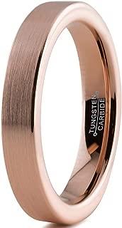 Tungsten Wedding Band Ring 4mm Men Women Comfort Fit 18k Rose Gold Black Flat Cut Brushed