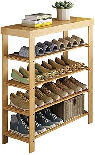 FF Schoenkast voor entreemeubelen Schoenkast met 4 planken Schoenenkast verticaal Natuurlijke bamboe Bespaar ruimte 60/70/80/90 X 28 X 80 CM (Breedte X Diepte X Hoogte) (Afmetingen: 80 cm)