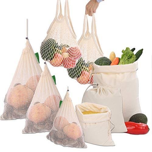 B-Earth Herbruikbare producttassen set van 8, B-Earth plastic, vrij van grocery bag, ecologisch, 100% organisch katoen boodschappentas, wasbare voedsel fruit, Vegetable & mesh opbergtassen