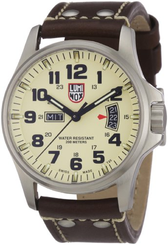 Luminox Field 42mm 1827 Ivory Dial Brown Leather Mens Watch