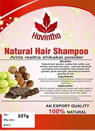 Havintha natural hair champú para el pelo 8 oz, amla reetha shikakai polvo (phyllanthus emblica, sapindus mukorossi, acacia concinna), producto de, 227g
