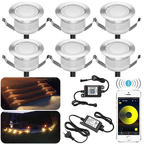 Bluetooth LED Einbaustrahler, 6er Spotlight Bodeneinbauleuchte wasserdicht IP67 1 W Ø45mm-Beleuchtung für Terrasse, Terrasse Küche Garten Led Lampe (warmweiß)