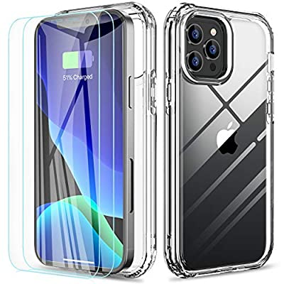 RAXFLY Compatible with iPhone 12 Pro Max Case with 2 Pack Screen Protector 6.7 inch for iPhone 12 Pro Max Case 360 Full Body Protective Shockproof Cover Clear