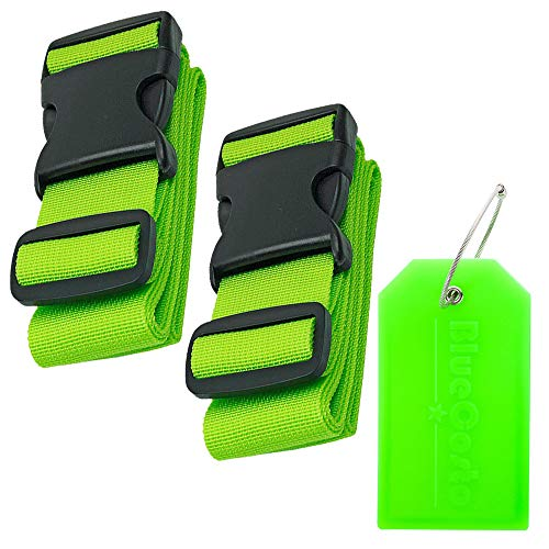 Hibate 2/4pcs Luggage Strap Suitcase Travel Straps (1x Luggage Tag - Gift Included) Green 2_vert(1_Etiquette) One_Size