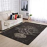 Hothotvery Alfombra vikinga Vegvisir y árbol de la vida impresa, alfombra decorativa para suelos duros, color blanco, 122 x 183 cm