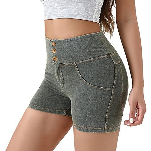 BUXIANGGAN Shorts Pantalones Cortos Mujer Pantalones Cortos De Mezclilla Súper Elásticos Mujeres con Cintura Alta Hermosas Nalgas De Yoga-Green_M